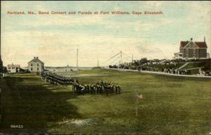 Fort Williams Cape Elizabeth ME Band Concert & Parade c1910 Postcard