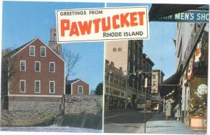 Greetings from Pawtucket Rhode Island RI, Chrome, Main Street and Old Slater