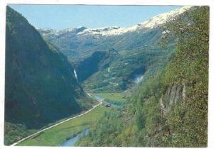 Aerial View of Naeroydal valley towards Stalsheimskleiven hair-pin bends, and...