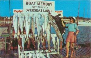 Vintage Florida Keys, Overseas Lodge, Captain Tilley Postcard Woman With Fish