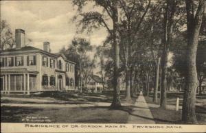 Fryeburg ME Dr. Gordon Main St. Residence c1910 Postcard