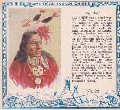 Red Man Chewing Tobacco American Indian Chiefs No 23 Big Chief Ponka Tribe