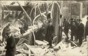 Disaster Post-Fire Fighting Frozen - Men CRISP Real Photo Postcard c1910