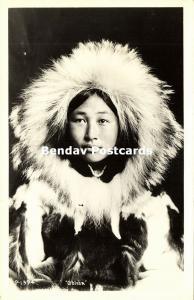 Alaska, Native Eskimo Girl, Obleka (1940s) RPPC