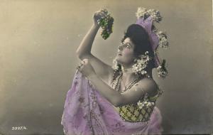Beautiful Edwardian Girl eating Grapes, Glitters (1908) RPPC Postcard
