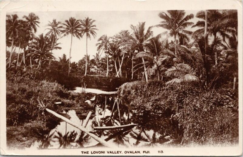 The Lovono Valley Ovalan Fiji Carne Series Unused c1924 w Stamp RPPC Postcard F9