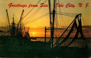 New Jersey Greetings From Sea Isle City Showing Fishing Boats 1979