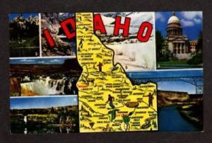 ID View of State Map IDAHO Postcard PC