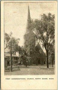 North Adams, Mass. Postcard First Congregational Church Street View c1900s