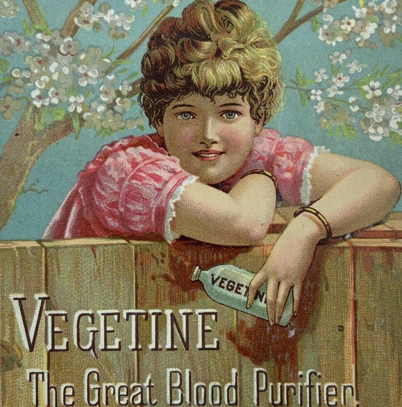 Vegetine Vitalizer Blood Purifier Quack Medicine Girl With Bottle Trade Card