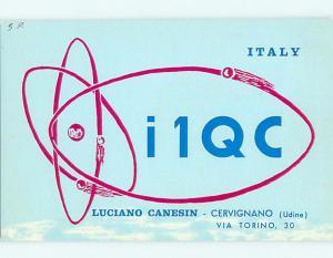 1966 vintage QSL CB HAM RADIO CARD Torino ITALY s0387
