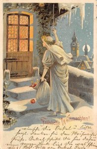 Frohliche Weihnachten Hold to Light 1907 writing on front