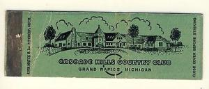 Grand Rapids, Michigan/MI Matchcover, Cascade Hills Count...