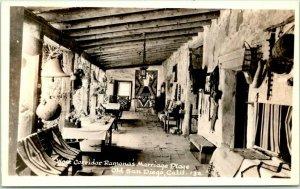 1940s San Diego, CA RPPC Photo Postcard West Corridor, Ramona's Marriage Place