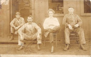 F82/ Occupational RPPC Postcard c1910 Overalls Factory Workers Chairs 16