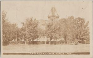 1909 KINGSLEY Kansas Kans Ks RPPC Postcard COURT HOUSE Building