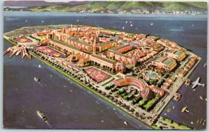 1939 GGIE San Francisco Expo WF Postcard TREASURE ISLAND Artist's Aerial View