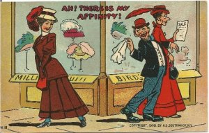 Ah! There is my Affinity! Comic Postcard Married Man Flirty with Pretty Woman