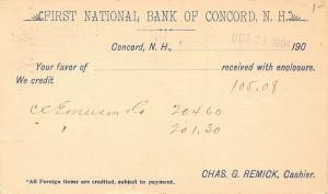 Concord NH 1st Nat'l Bank Receipt~Remick~WM Carr, Bradford Esq~Emerson & Co 1904