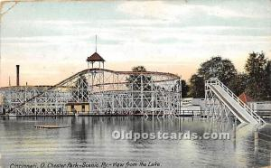 Cincinnati, Ohio, OH, USA Postcard Chester Park, Scenic Ry view from the Lake...