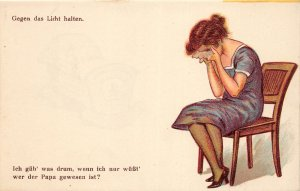 G31/ German Comic HTL Hold-To-Light  Postcard pre40s Crying Woman 9