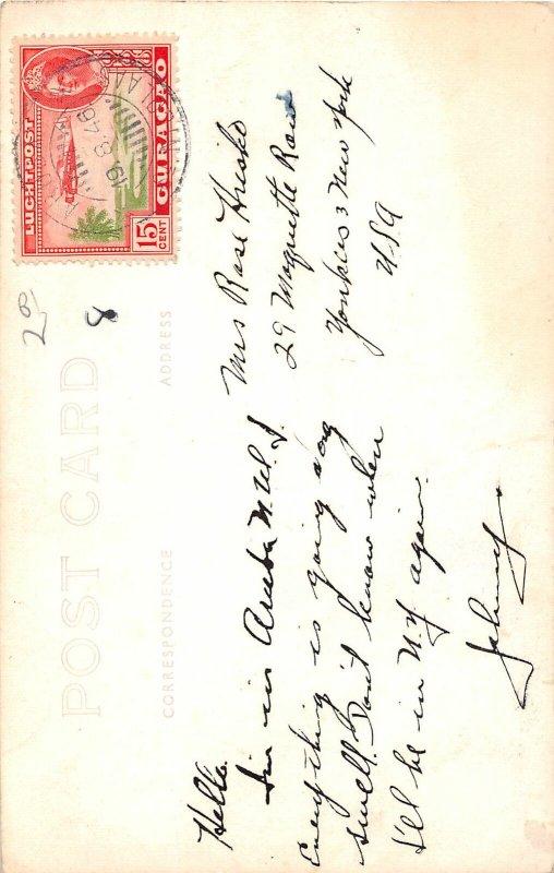 G42/ Foreign RPPC Postcard Curacao Stamp Postcage 1946 Church Building