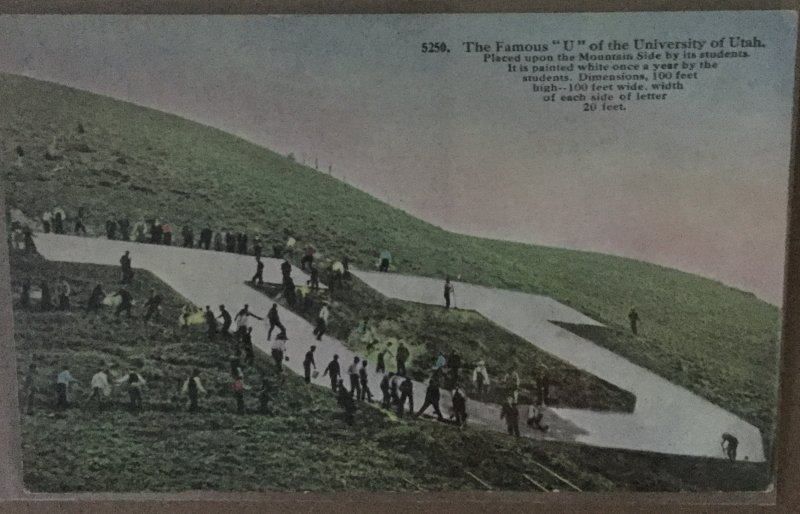 Vintage Postcard The Famous U of University of Utah on Mountain Side by Students