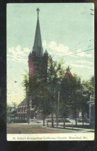 HANNIBAL MISSOURI ST. JOHN'S EVANGELICAL LUTHERAN CHURCH VINTAGE POSTCARD MO.