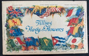 Mint USA YMCA America PPC picture Postcard Allies Flags & Flowers soldier mail