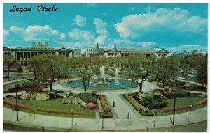 Postcard - Logan Circle & Swan Memorial Fountain, Philadelphia, Pennsylvania
