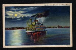 KY Moonlight Steamer Ship ASHLAND KENTUCKY Postcard PC