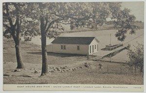 Old DB Divided Era Postcard Boat House & Pier, Union League Lake Camp Salem, WI