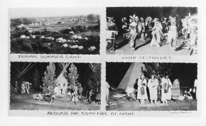 Indian Summer Camp, Night Festivities, Campfire    **RPPC**  4 Views
