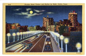 P1259 vintage unused postcard dallas texas houston st. cars viaduct by night