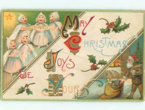 Pre-Linen Christmas BROWN COAT SANTA CLAUS ON RIGHT SIDE OF POSTCARD AB5472