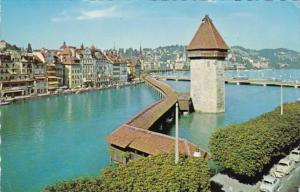 Switzerland Luzern Kapellbruecke und Wasserturm 1965