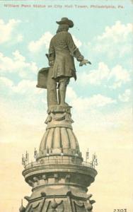 William Penn Statue on City Hall Tower, Philadelphia, Pa,...