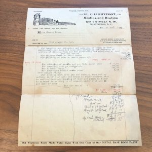 1933 - WASHINGTON DC - LIGHTFOOT - ROOFING HEATING INVOICE  - VINTAGE PAPER