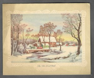 VINTAGE 1940s WWII ERA Christmas Greeting Holiday Card THE OLD GRIST MILL Gibson