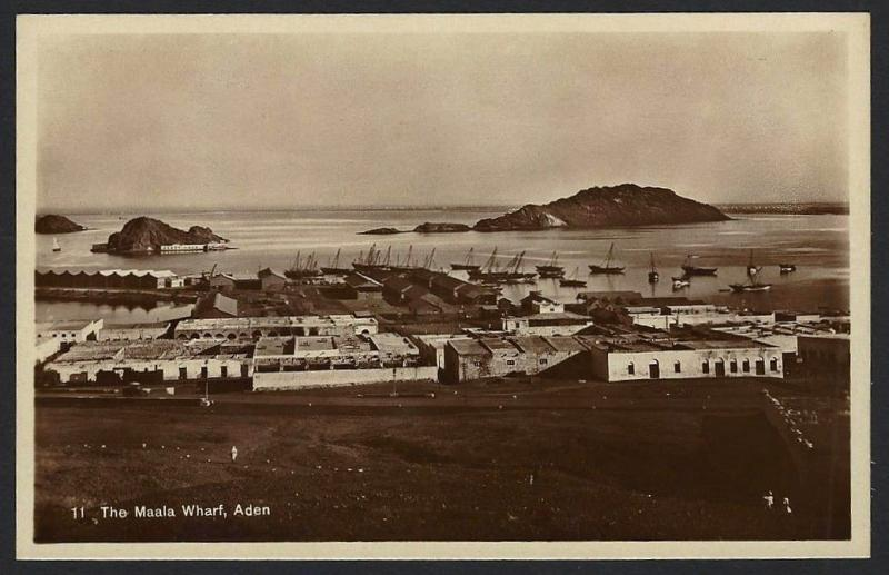 Aden The Maala Wharf real photo postcard by Dinshaw & Co. c.1910