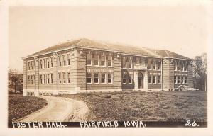 Fairfield Iowa~Brand New Foster Hall~No Trees~Parsons College RPPC c1922