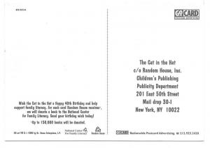 Modern Advertising Postcard Cat in The Hat 40th Birthday