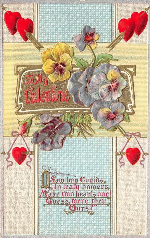 Valentine GReetings~Violets~Hearts~Poem About Cupids~c1910 Embossed Postcard