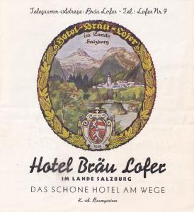 Hotel Brau Lofer Austria 1950s Guide Book Ephemera