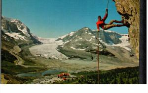 BRITISH COLUMBIA, Canada, 1940-1960's; Rappeling Hig Over The Columbia Icefield