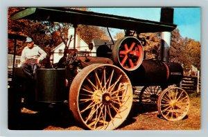 Burton OH- Ohio, Geauga County Historical Museum Steam Engine ChromePostcard