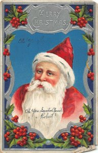 G67/ Santa Claus Christmas Postcard c1910 Beautiful Sliver Border 17