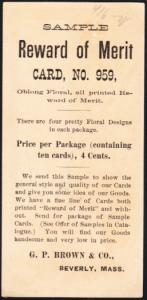 Reward of Merit  G.P. Brown Beverly Mass Sample Card