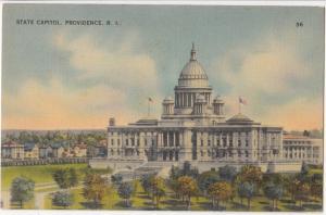 State Capitol, PROVIDENCE, RI, unused linen Postcard