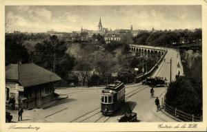 luxemburg, LUXEMBOURG, Entrée de la Ville, Tram, Street Car (1938) Postcard